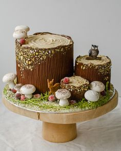 Cook Til Delicious Meringue Mushrooms, Mushroom Cake, Yule Log Cake, Tree Cakes, Forest Cake, Gingerbread Cake, Köstliche Desserts, Cake Decorating Techniques, Christmas Desserts