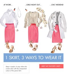 3 ways to wear a pencil skirt. This is a flattering skirt.