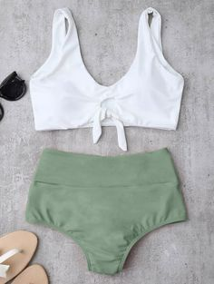 SHARE & Get it FREE | Knotted High Waisted Ruched Bikini Set - Light Green MFor Fashion Lovers only:80,000+ Items • New Arrivals Daily Join Zaful: Get YOUR $50 NOW!
