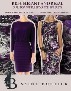 Purple is BACK! Check out these rich, elegant, bust-friendly dresses that are flattering for large cup sizes and all skintones: http://www.saintbustier.com/catalogsearch/result/?q=purple