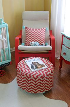 Circus Nursery Ottoman and Rocker....Poang rocking chair from Ikea...painted to match décor...with redone ottoman.