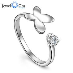 "Fashion Lady Rings Adorable Rhodium Plated ""Butterfly"" adjustable Rings (JewelOra RI101434)"