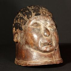 """Makonde Mask Tanzania, East Africa Lipico helmet mask with inset hair; rich brown patina 9 1/2"""" / 24.1cm : Chokwe Mask, Congo : Collected by Jean Pierre Hallet"""