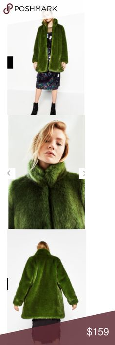 🆕🎈HOST PICK 🎈Zara Green Fur Brand new with tags, sold out online and stores!! Price is firm unless bundle with another item🙌🏻 Zara Jackets & Coats
