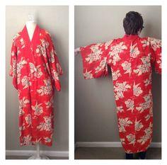 Vintage 70s Japanese cotton Kimono  red lotus by CrystalsCloset74