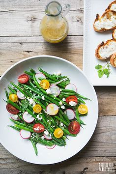 Summer Garden Green Bean Salad with Honey Vinaigrette and Toasted Goat Cheese Crostini #recipe via FoodforMyFamily.com with @PresidentCheese #ArtofCheese