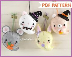 PDF PATTERN: Ghostly and Cute, Kitty, bear, bunny and mouse, Halloween Ghosts. Felt Halloween decorations.