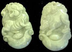 Natural Jadeite Light Celadon Green Jade Tablets/Pendants (7186) (Pair)