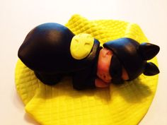 Even Baby Batman needs his sleep. This large baby Batman is so cute.Baby Shower, Birthday, Baptism, Cake Topper, Party on Etsy, $38.00
