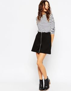 ASOS A-Line Skirt with Zip Through
