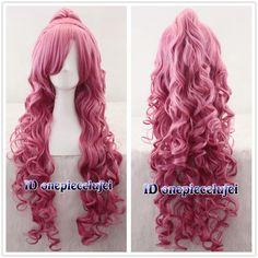 Megurine Luka Vocaloid Long Pink Curly Cosplay Wig With Clip Ponytail Wigs Cosplay Hair, Cosplay Wigs, Anime Cosplay, Meg Cosplay, Kuroshitsuji Elizabeth, Pretty Hairstyles, Wig Hairstyles, Kawaii Wigs, Yarn Wig