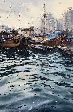 Watercolor Water, Watercolor Landscape Paintings, Landscape Artwork, Watercolor Artwork, Seascape Paintings, Boat Art, Boat Painting, Water Reflections, Impressionism Art