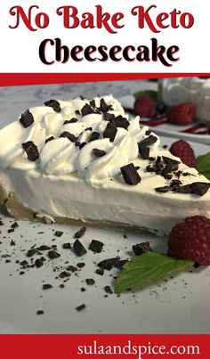 A low carb diet doesn't mean you have to give up dessert. Just make a delicious sugar free version of no bake cheesecake. This will satisfy those urges for sweets! #ketodessert #ketocheesecakenobake #ketonobakerecipe #ketonobakedessert #ketorecipes #sugarfreedesserts #lowcarbdesserts Sugar Free Desserts, Low Carb Desserts, No Bake Desserts, Baking Recipes, Keto Recipes, Whole Food Recipes, Keto No Bake Cheesecake, Low Carb Diet, Vegetarian Cheese