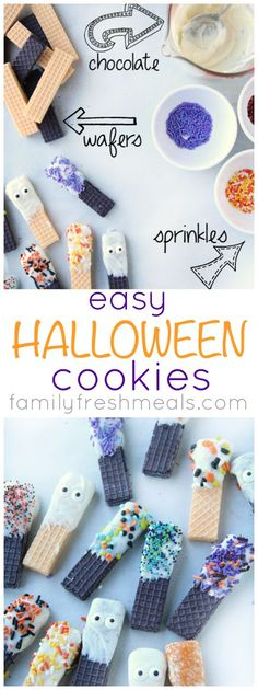 Easy Halloween Cookies! Just dip and sprinkle. #familyfreshmeals #halloween