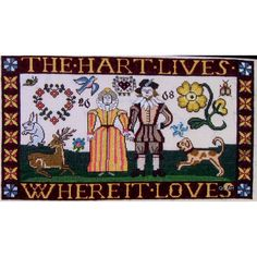 The Scarlet Letter THE HART LIVES Where It Loves Cross Stitch Kit Reproduction Sampler by NeedleLittleTherapy on Etsy The Scarlet Letter, Crewel Embroidery Kits, Butterfly Photos, Forest Friends, Winter Photos, Linen Pillows, Cross Stitch Kits, Colorful Pictures, Traditional Design