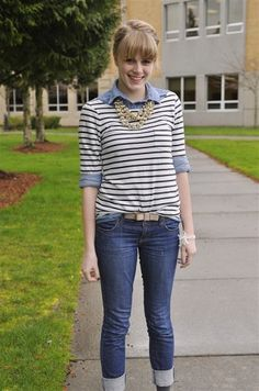 cute casual- pretty t-shirt over a button down blouse, w/jeans ...