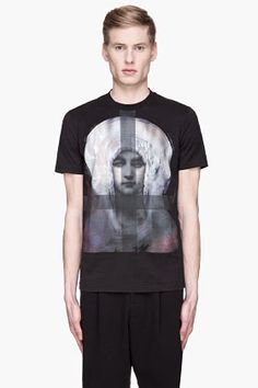 GIVENCHY Black and purple painted madonna print t-shirt