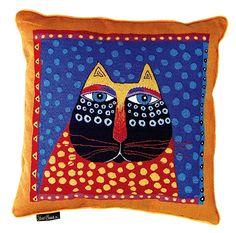 in Stock: Dotted Cat Laurel Burch Designer Tapestry Pillow, 18 in. Laurel Burch, Cat Pillow, Fabric Art, Cat Fabric, Cat Crafts, Silk Painting, Art Plastique, Cat Art, Art Lessons