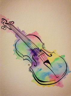 Watercolour Violin by seb-artwork on DeviantArt Music Drawings, Music Artwork, Art Drawings For Kids, Art Drawings Sketches, Violin Drawing, Violin Painting, Violin Tattoo, Musical Instruments Drawing, Cello Art