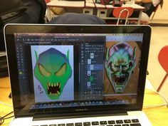 This week in the PHS's Digital Design class students are learning how to paint and make special effects on their own faces using the computer software program Photoshop.  This class could help these students find open jobs in the real world to make a successful career option. #PlymouthHSpcsc @PlymouthCSC_IN @Plymouth