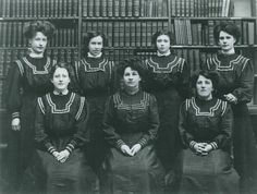 Worthing Museum & Art Gallery staff in the former Reference Library with Curator Marion Frost front-centre, circa 1908-1914. #Worthing #history #localhistory