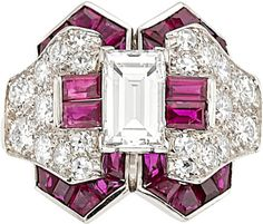 Estate Jewelry:Rings, Art Deco Diamond, Ruby, Platinum Ring, Oscar Heyman Bros. . ... Image #1