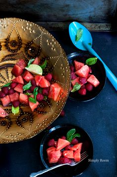 Raspberry Watermelon Salad with mint.