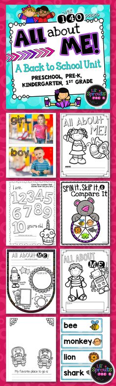 This is a complete All About Me Unit for back to school! There are so many printables and activities to choose from in this All About Me Unit! This unit is designed for Preschool, Pre-K, Kindergarten and First Grade. It's great for back to school activities!