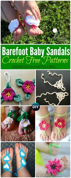 Crochet Barefoot Baby Sandals [Free Patterns]: Crochet Baby Beach Sandals, Summer Sandals, Baby Anklets,   via @diyhowto