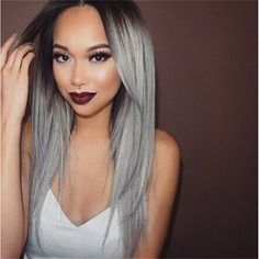 Superwigy Long Straight Hair Two Tone Black and Grey Ombre Wig Heat... (21 CAD) ❤ liked on Polyvore featuring beauty products, haircare, hair styling tools and hair