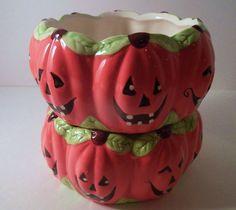 Royal Norfolk Halloween Candy Dish Jack-O-Lantern Ceramic Bowls Set of 2