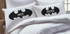 @Amanda Zak ....pillow cases for you and Carl. :) Batman Inspired his hers pillowcase set by RKGracePrints on Etsy, $28.00