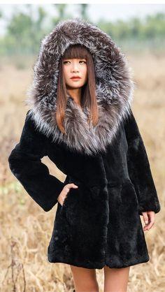 New Real 100% Rex Rabbit Fur  Fox Collar  Women Coat Jacket Overcoat Garment  #Furfox #BasicCoat