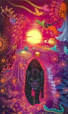 Original Hand Painted on Canvas XL Ayahuasca Art by Jorge Ramirez, student if Pablo Amaringo, Jungle Kunst Inspo, Art Inspo, Fantasy Kunst, Fantasy Art, Jorge Ramirez, Dope Kunst, Art Visionnaire, Psychadelic Art, Jungle Art