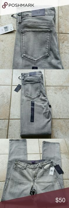 Nydj straight leg jeans Nwt. Guys for. Straight leg jeans. Gray wash color. 91% cotton 7% polyester 2% spandex. Approximately 14 inches across waistline laying flat, 43 inches in length, 32 inseam. NYDJ Jeans Straight Leg