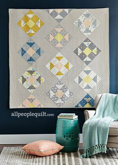 Shoo Fly quilt by Sharon Holland Designs made with Tapestry fabrics and Art Gallery Fabrics linen Photo used with permission from Quilts and More copyright 2017 Meredith Corporation. All right reserved