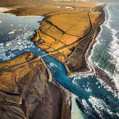 Jökulsàrlón bay Iceland from above. by francesco_vaninetti_photo