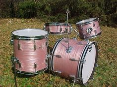 Rogers Holiday wine red ripple drum kit - 1961. Cozy Cole Constellation set.
