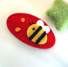 NO SLIP Wool felt hair clip Bumble bee red by MayCrimson on Etsy