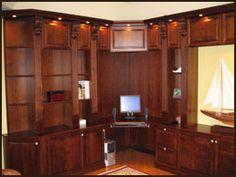 Cherry Library Built-In Shelves and cabinetry