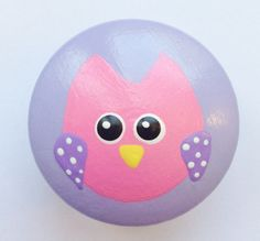 Hand Painted Owl Drawer Knob in Purple and Pink