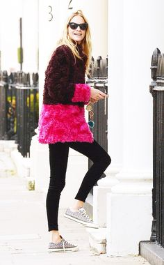 Poppy Delevingne pulls off a bold color-blocked coat. // #Celebrity