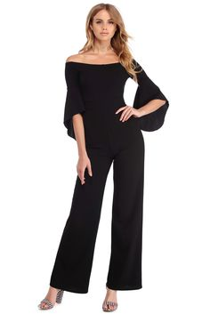 7b99aa013f523 Black Essential Bell Sleeve Jumpsuit Jumpsuit With Sleeves