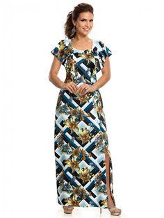 e672fde2e Vestido Florido Longo Moda Evangélica | Clique e Confira | Madame Chic