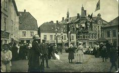 Telemark fylke KRAGERØ. Meget uvanlig sentrumsparti, med torg bl.a. Kragerø Cafe i bakgrunnen, privatlagd. Ubrukt tidlig 1900-tall