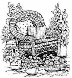 Northwoods Rubber Stamp Wicker Chair with Flowers     $12.99