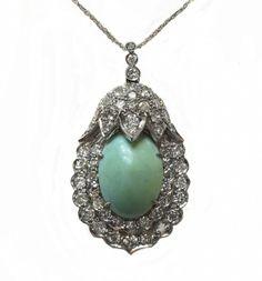 Large Exquisite Retro Turquoise & Diamond Pendant/Necklace   Antique & Estate Jewelry   Jewelry Finds