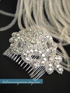 Wedding Accessory Bridal Hair Comb, Josephine (Free U.S. Shipping) - crystal, cubic, rhinestone, art deco, art nouveau on Etsy, $44.00