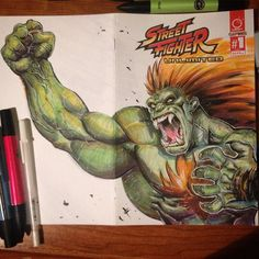 Ok Now he's green.  Will be up for sale if I ever get an online shop up and running. Or dm me o Instagram if you want it ASAP.  #blanka #streetfighter #streetfighterunlimited #capcom #copic #pantone #drinkndraw #twitter #tumblr #Pinterest #blogger #joverinks #joverineArtBook #coffee #brazil #gingers #happyholidays