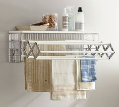 Shop wallmount drying rack from Pottery Barn. Our furniture, home decor and accessories collections feature wallmount drying rack in quality materials and classic styles. Drying Rack Laundry, Laundry Room Organization, Laundry Room Design, Drying Racks, Organization Ideas, Laundry Baskets, Laundry Storage, Storage Ideas, Small Storage